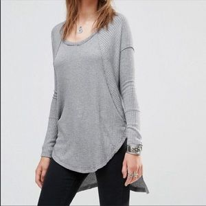 Free People Gray Ventura Thermal Waffle Knit Top M